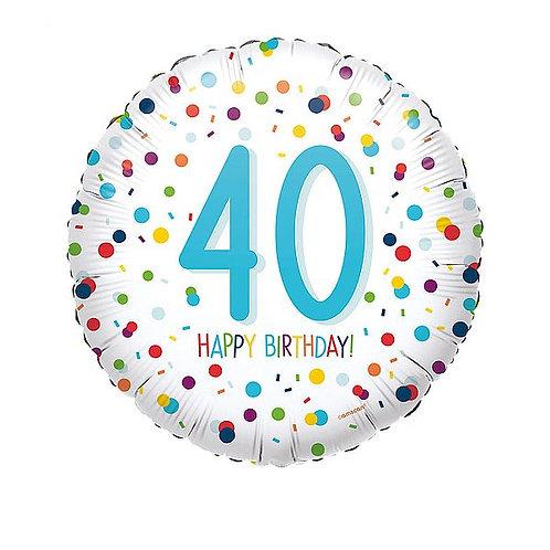"Folienballon ""Happy Birthday 40"", Confetti"