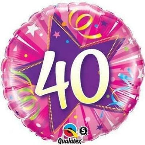 "Folienballon ""40"", pink"