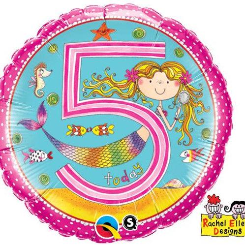 Folienballon von Rachel Ellen Designs, 5. Geburtstag Mädchen