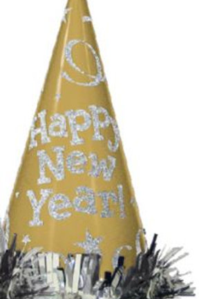 "Partyhut ""Happy New Year"", einzeln, gold"