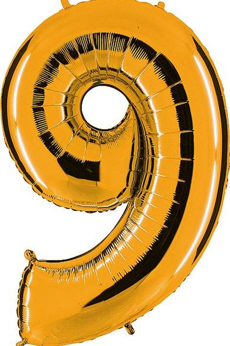 """Riesenzahl """"9"""" - altgold"""