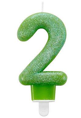 "Zahlenkerze ""2"", Glitzer, grün"