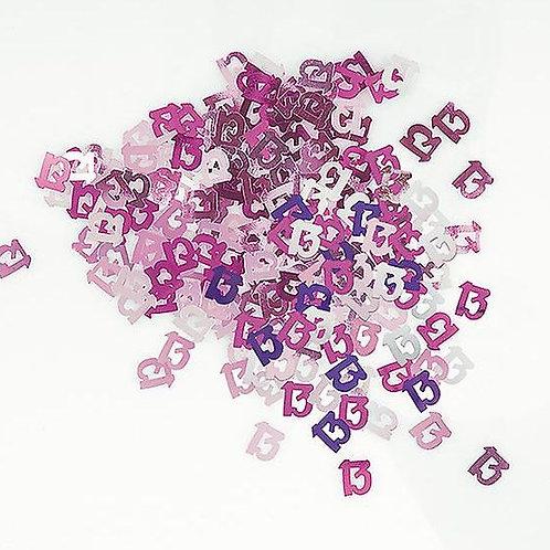 Tischkonfetti zum 13. Geburtstag in pink/flieder/silber, gestanzte Zahlen