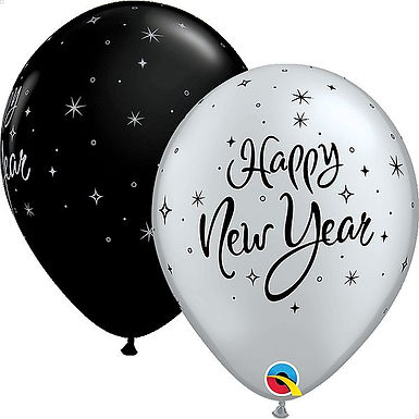 "Latexballons ""Happy New Year"", schwarz/silber"