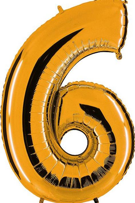 """Riesenzahl """"6"""" - altgold"""