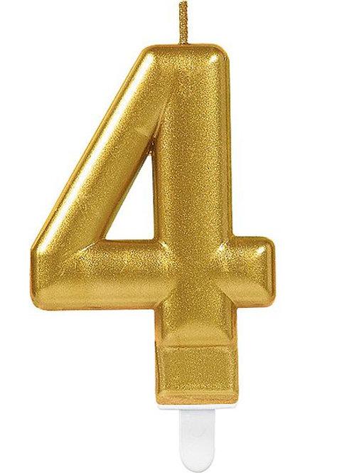 """Zahlenkerze """"4"""", gold"""