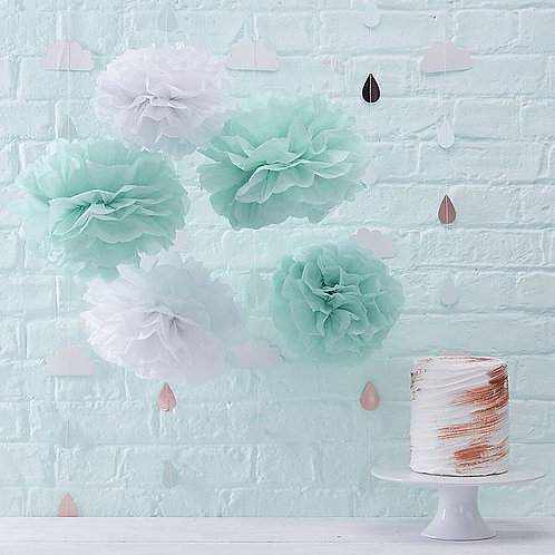 PomPoms mint/weiß