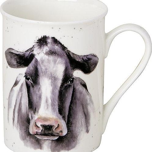 Porzellanbecher Kuh schwarz/weiß
