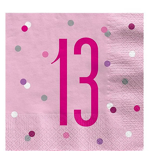 "Servietten  ""13"" in rosa"