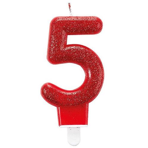 """Zahlenkerze """"5"""", Glitzer, rot"""