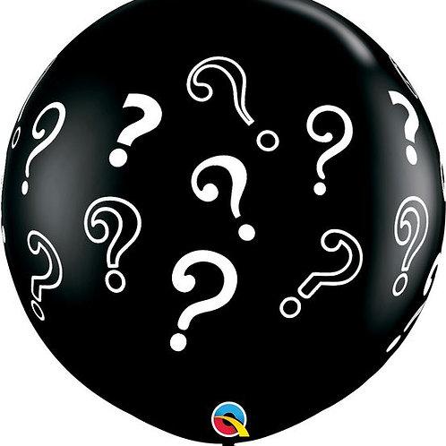 Ø 90cm Latex-Riesenballon mit Fragezeichen, gefüllt mit hellblauem Konfetti
