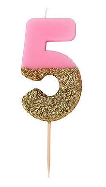 "Zahlenkerze ""5"" rosa-gold"