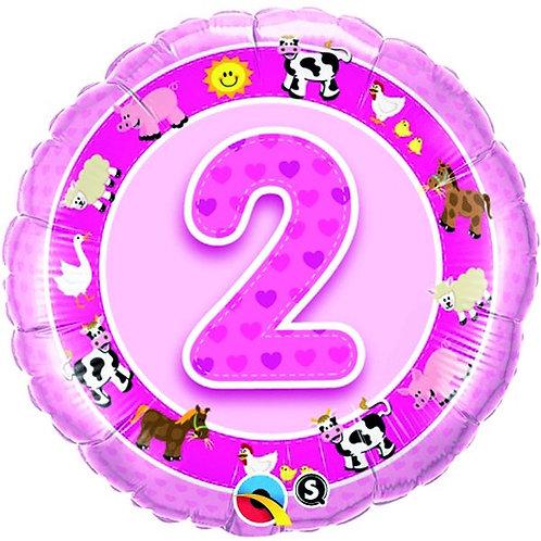 Folienballon zum 2. Geburtstag Mädchen, Bauernhoftiere