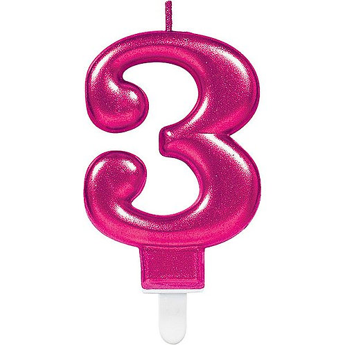 """Zahlenkerze """"3"""", pink"""