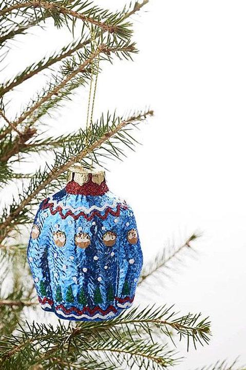 """Christbaum-Schmuck """"Winterpullover blau"""""""