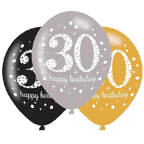 "Latexballons ""Happy Birthday 30"" in gold/silber/schwarz"