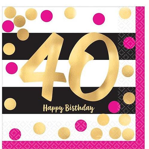 """Servietten  """"Happy Birthday 40"""" in gold/schwarz/pink"""