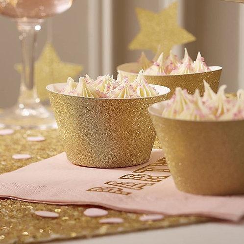 Cupcake Banderolen Gold Glitter