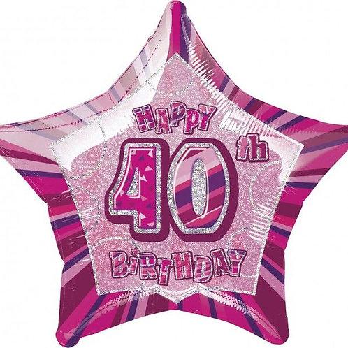 """Folienballon """"Happy Birthday 40"""", pink, sternförmig"""