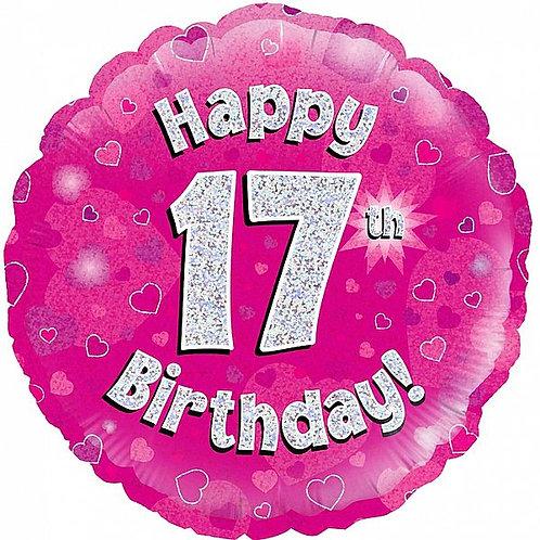 Folienballon Happy Birthday 17, holografisch,pink