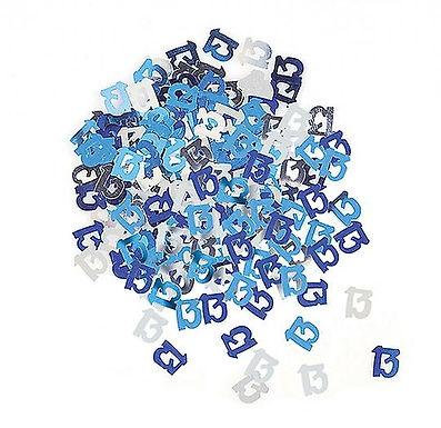 Tischkonfetti zum 13. Geburtstag in blau/silber, gestanzte Zahlen