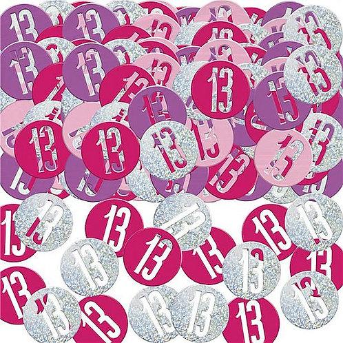 Tischkonfetti zum 13. Geburtstag in pink/flieder/silber, rund