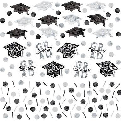 Tischkonfetti zur bestanden Prüfung in silber/schwarz
