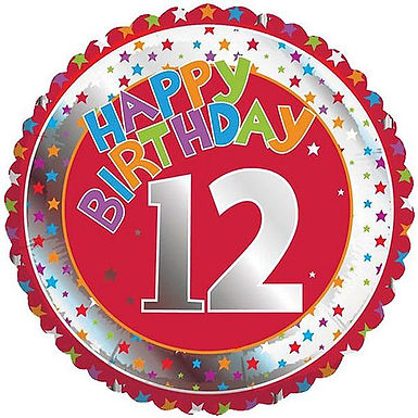 Folienballon Happy Birthday 12, rot/silber/bunt