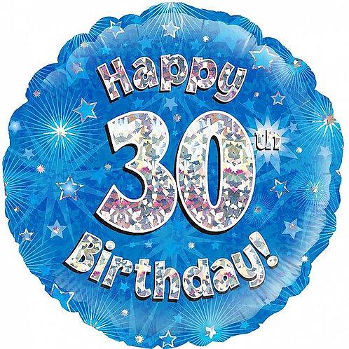 "Folienballon ""Happy Birthday 30"", blau, holographisch"