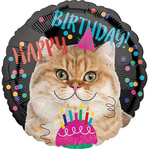 "Folienballon ""Happy Birthday Katze"""