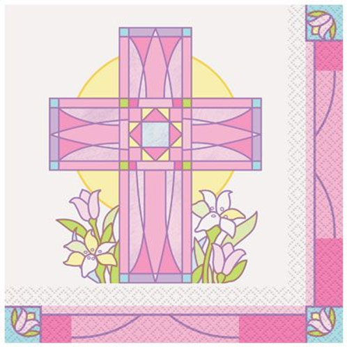 Servietten mit rosa Kreuz und Blumen
