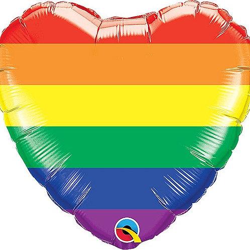 Folien-Herzballon Regenbogen