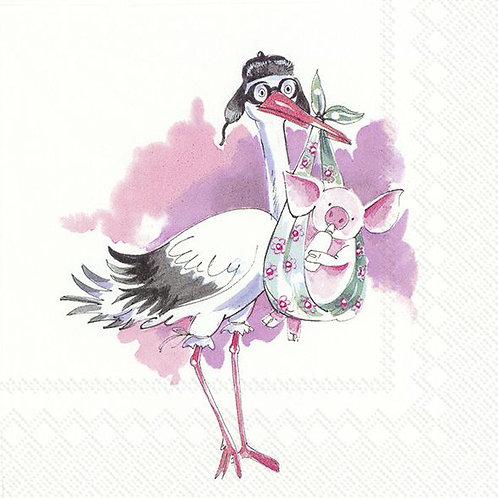 Servietten Storch / rosa