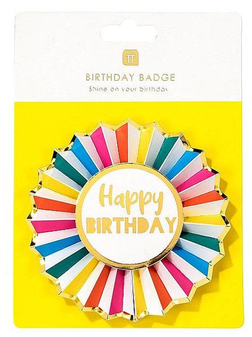 Anstecker Happy Birthday, Regenbogenfarben