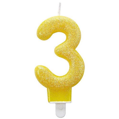 """Zahlenkerze """"3"""", Glitzer, gelb"""