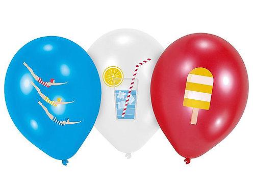 "Latexballons ""Strand"", weiß, blau und rot, Ø 27,5 cm, 6 Stück"
