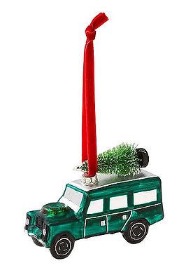 """Christbaum-Schmuck """"grünes Auto mit Tannenbaum"""""""