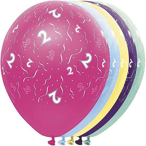 "Latexballons ""2"" bunt / Sortiment 1"