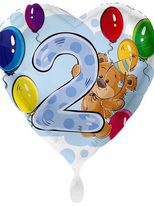 """Folien-Herzballon: Geburtstags-Bär """"2"""""""