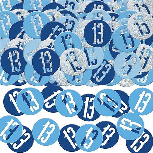 Tischkonfetti zum 13. Geburtstag in blau/silber, rund