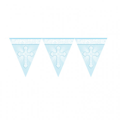 Wimpelkette Kreuz,hellblau