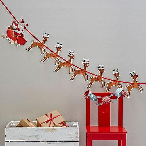 """Girlande """"Santa im Rentier-Schlitten"""""""