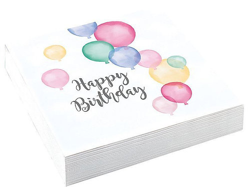 """Servietten """"Happy Birthday"""", weiß/pastell"""