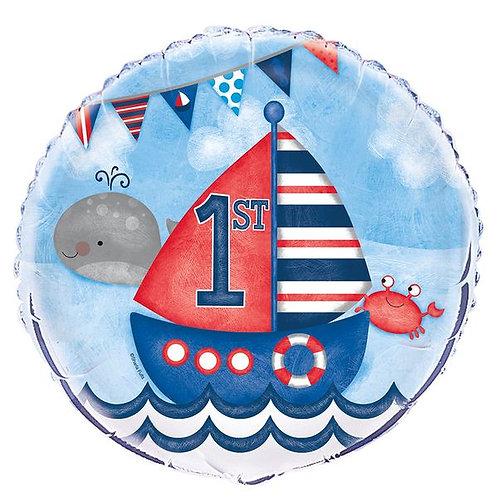 Folienballon 1. Geburtstag Segelboot