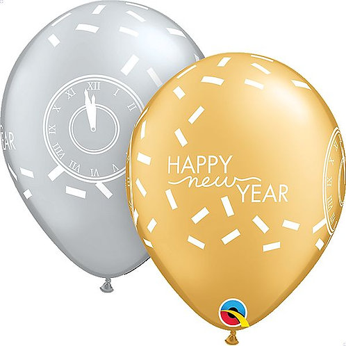 "Latexballons ""Happy New Year"", gold/silber"