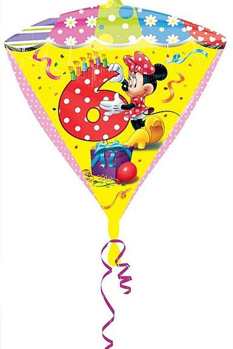 Diamonds-Folienballon Minnie Mouse zum 6. Geburtstag