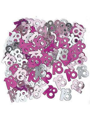 Tischkonfetti zum 18. Geburtstag in pink/rosa/silber, gestanzte Zahl