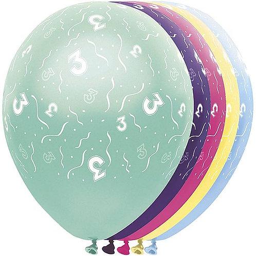 "Latexballons ""3"" bunt / Sortiment 1"