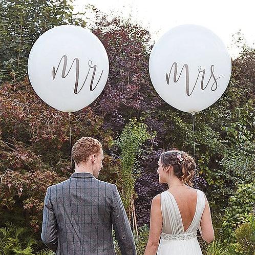 Ø 90cm Latex-Riesenballons, weiß mit Aufschrift Mr und Mrs