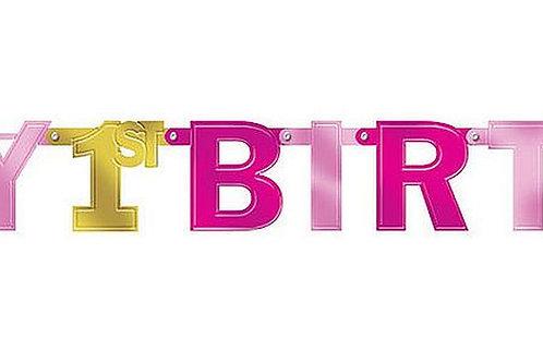 Girlande zum 1. Geburtstag in pink/gold